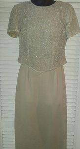VINTAGE ADRIANNA PAPELL SEQUINED TOP SKIRT SET SZ8